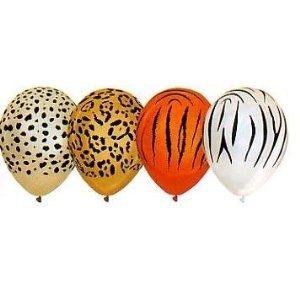 safari zoo animal print balloons tiger leopard chetah