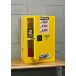 Sure-Grip EX Mini Bench/Wall-Mount Safety Cabinet - 17x17x22'' - 4-Gallon Capacity - Manual-Closing Doors - Yellow by Sure-Grip Ex