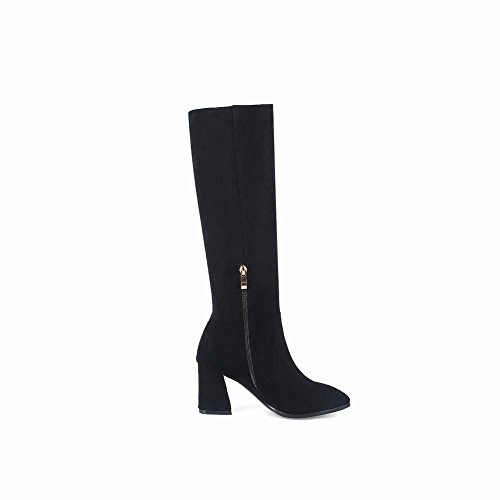 Charm Foot Womens Embroidery Flower Chunky High Heel Knee High Boots Black xjMPmkeda