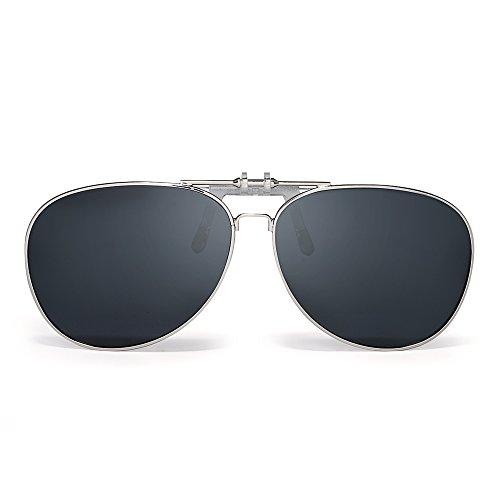 c28e1d368f Gafas de Sol Aviador Clip En Retro Lentes Polarizados Flip up Conducir  Anteojos Hombre De alta