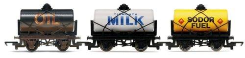 HORNBY 3 Wagon Pack Oil, Milk & Sodor Fuel Tanker R9704 Thomas & Friends
