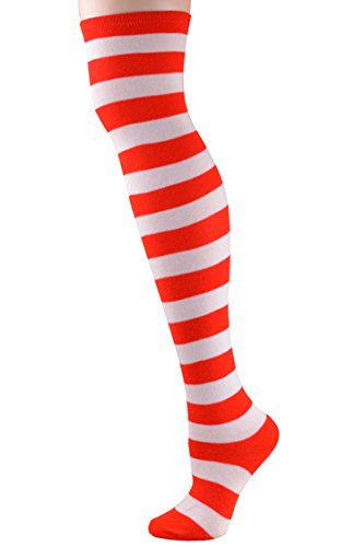 Women Casual Striped Stocking Over Knee Thigh Long Sexy Socks Blue Xmas Red - Stocking Christmas Sexy