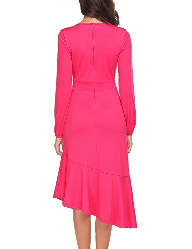 Rose Red Dress ELESOL Sleeve Ruffle Hem Out Cut Women Waist Cuff Elastic Midi Long Party pqTOBpR