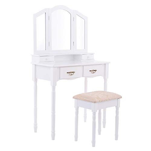 Table Stool Storage Drawer Mirror Makeup Tri Folding Vanity Dressing ()