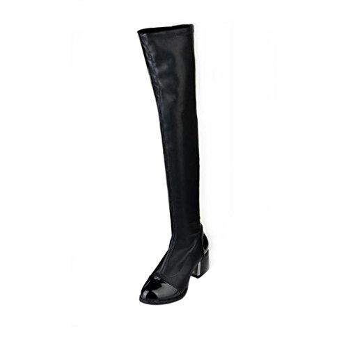 Amcool Damen Elastische über Knie Stiefel Blockabsatz Stiefel Schwarz