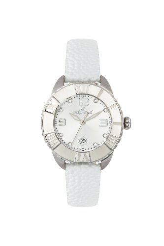 Oskar Emil Celine Stainless Steel Quartz Watch for Ladies with Crystals Silver Dial Analogue Display and White Leather Strap Celine SS