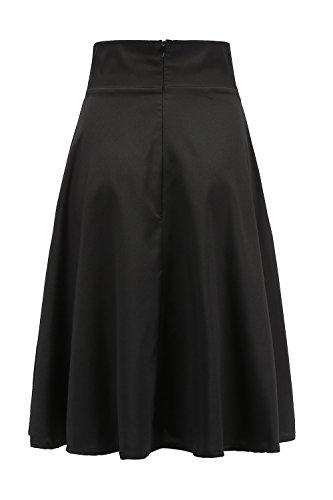 Femmes Dcollet Black Nimpansa Patineur Jupe Les Occasionnels Jupes Solide Midi 1C1Zqft