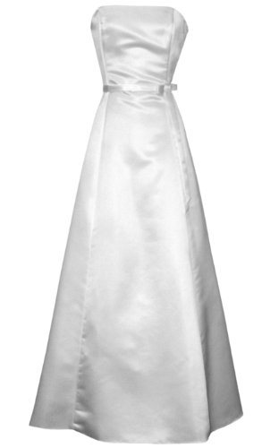 50s Strapless Satin Long Bridesmaid Prom Dress Formal Junior Plus Size, XL, White