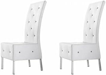 mobilier nitro Chaise capitonnée Blanche Olbia x2: