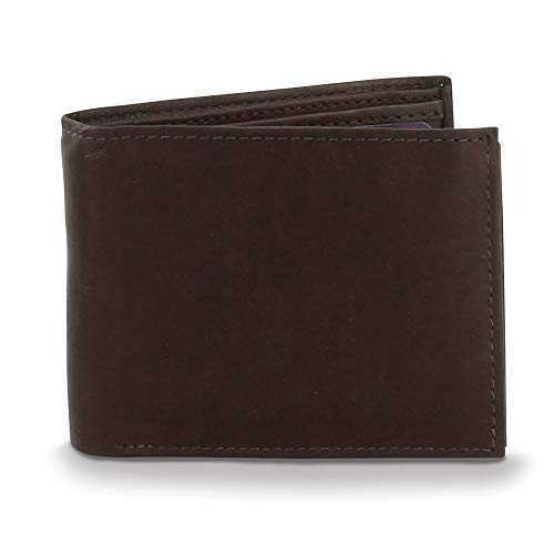 FB Jewels Solid Brown Leather Bifold Wallet Center Flap ()