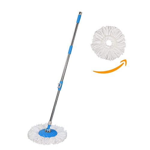 Hapinnex Mop Handle Replacement With 2X Microfiber Cloth Mop Heads   Suitable For Press Type Buckets   Non Pedal   Internal Spring Mechanism   Replacement Handle For Push   Pull Spin Magic Mops