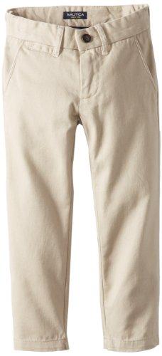 Nautica Little Boys' Uniform Flat Front Twill Pant, Khaki, 4 Boys Khakis