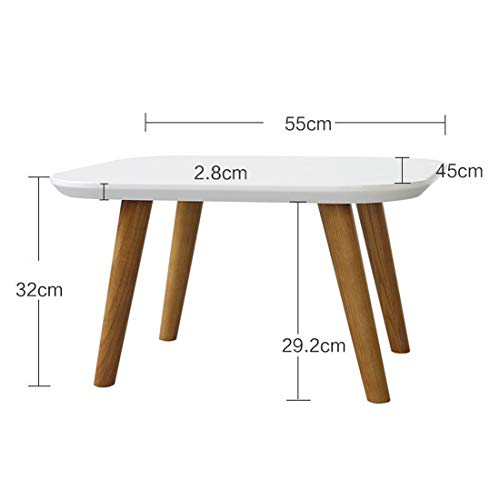 Metcandy Square Painted Coffee Table Solid Wood Sofa Side Table It Can Move Easy to Install Modern Simplicity Telephone Mini Table,Milky,554532cm