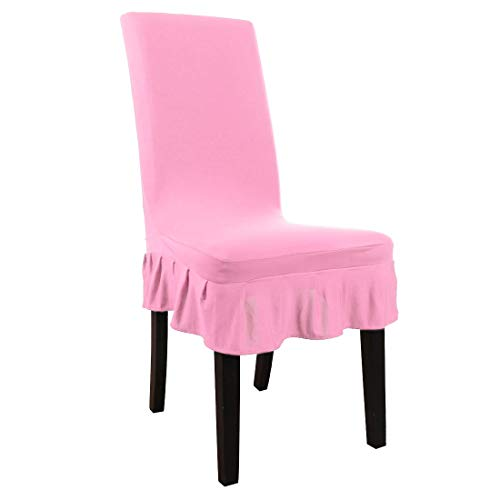 uxcell Stretch Spandex Short Kitchen Dining Room Chair Covers Ruffled Skirt Slipcover Multi-Color Chair Seat Covers Pink