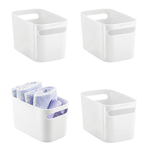 mDesign Deep Plastic Bathroom Vanity Storage Bin with Handles - Organizer for Hand Soap, Body Wash, Shampoo, Lotion, Conditioner, Hand Towel, Hair Brush, Mouthwash - 10