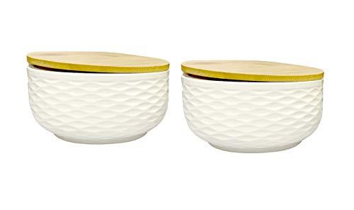 Lemon Tree Wave Design Bone China Ceramic Bowl Set, Wooden AIRTIGHT LID Bowl Set of 2