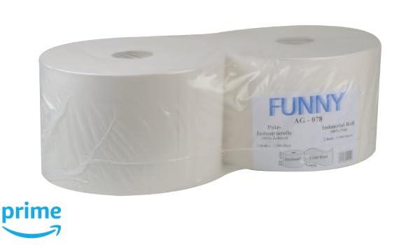 Toallas de limpieza de papel (2 capas, 22 cm, 2 rollos de 1.500 hojas cada uno), color blanco brillante: Amazon.es: Industria, empresas y ciencia