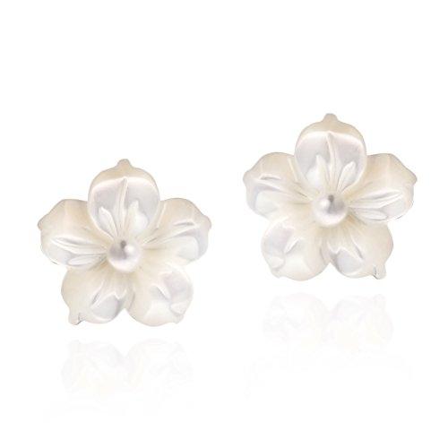 Pearl Flower Charm (Charm Flower of New Beginning Mother of Pearl Plumeria .925 Sterling Silver Stud Earrings)