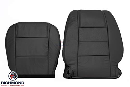 Richmond Auto Upholstery - Driver Side Complete Replacement Leather Seat Covers, Black (Compatible with 2005-2009 Ford Mustang V6) (Dark Charcoal Black)