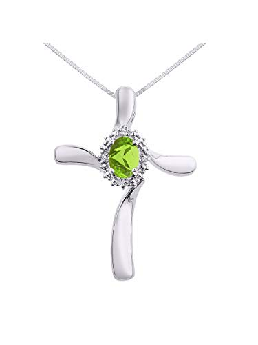 Diamond & Peridot Cross Pendant Necklace Set In Sterling Silver .925