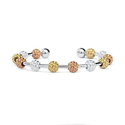 Golf Goddess Signature Tri-Color Golf Ball Bead Score Counter Bracelet - Sterling Silver, 18k Rose Gold and 14k Gold Plated