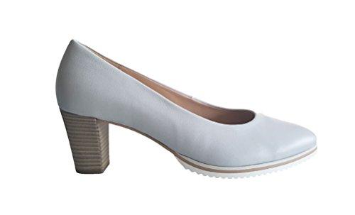 Bombas Sapatos Gabor Mulheres Luz Couro Real Luz Azul Bem Nappa Cinza Azul