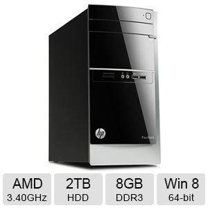 HP Pavilion 500-246 AMD A10 Quad-Core, 8GB, 2TB HD, DVD, Win 8.1 Desktop PC