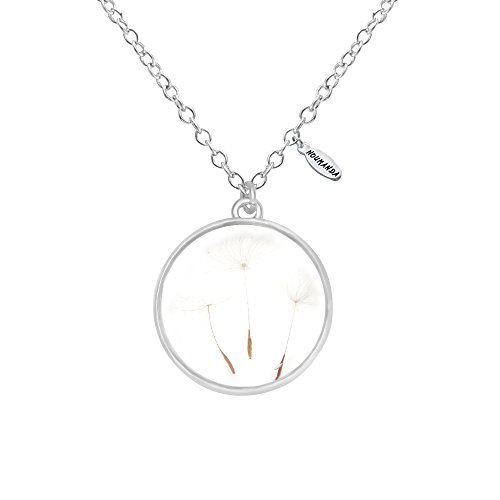 NOUMANDA Round Glass Necklace Floating Dried Flower Dandelion Pendant for Women (Silver)