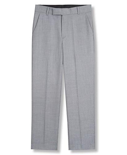 (Calvin Klein Big Boys' Flat Front Dress Pant, Light Grey, 14)