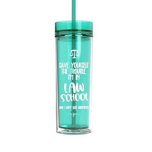 Funny Law School New Student Gifts for Women Water Bottle Tumbler with Lid Mint 0223
