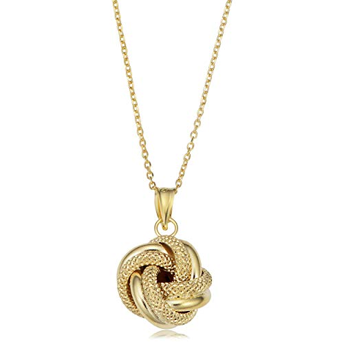 14k Yellow Gold Textured Love Knot Pendant Necklace (16.5 inch)