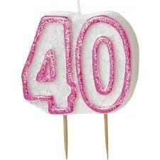 Party-Kerze zum 40. Geburtstag, Glitzer, Rosa Party Stuff 4U 34404