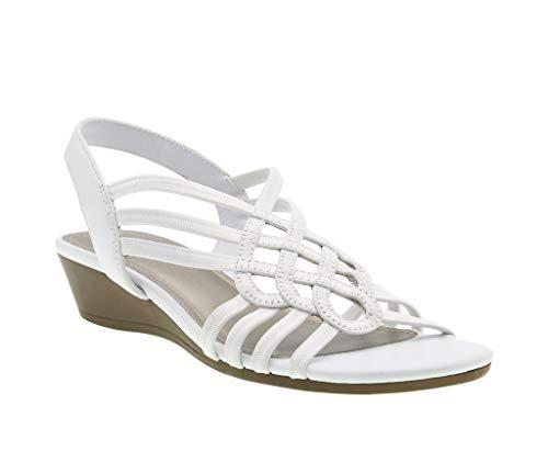 - Roma Stretch Wedge Sandal, White Stretch Elastic/Soft Vachetta, 9.5 B(M) US