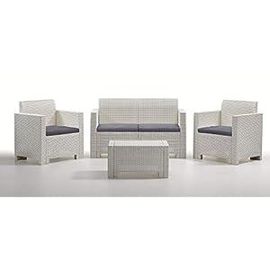 Antonio Capaldo SpA Nebraska 2 Bianco Set mobili da Giardino, 4 Pezzi: Divano; Poltrone; Tavolino 2 spesavip