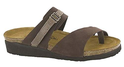 NAOT Footwear Women's Jessica Coffee Bean Nubuck/Brown Lizard Lthr Sandal 8 M US