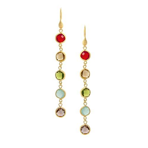 Multi Gem Earring Set - Multi Gem Drop Earrings - Fire Opal, Citrine, Peridot, Mint, Tourmaline Crystal
