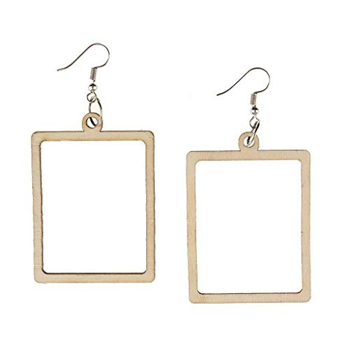 - Charm Ladies Wooden Hollow Round Rectangle Oval Geometric Earrings Jewelry Necklace Jewelry Crafting Key Chain Bracelet Pendants Accessories Best| Style - Hollow Rectangle