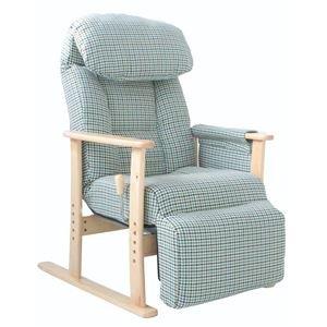 リクライニングチェア(高座椅子) 梢 フットレスト/肘付き 無段階ガス式 BL ブルー(青) B07PDBKJ1J
