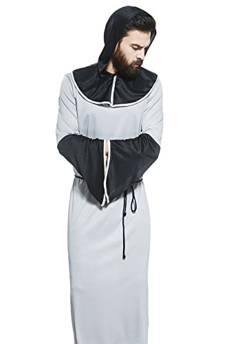 [Adult Unisex Medieval Monk Halloween Costume Grey Friar Dress Up & Role Play (One size fits most)] (Priest Halloween Costumes)