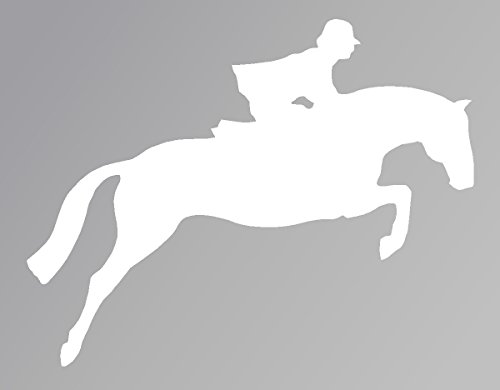 (Horse Jumping White Decal Car Laptop Window Vinyl White)