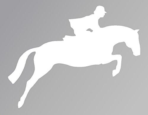 Horse Jumping White Decal Car Laptop Window Vinyl White Sticker ()