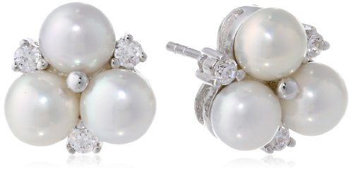 Mother Of Pearl Cluster Earring - Bella Pearl White Cluster Earrings