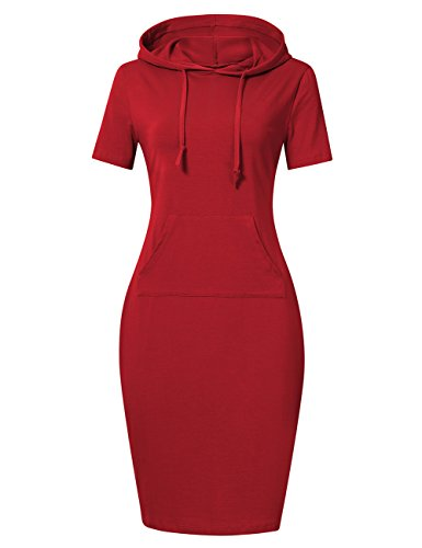 MISSKY Women Pullover Stripe Short Sleeve Keen Length Slim Sweatshirt Causal Hoodie Dress with Kangaroo Pocket for Sport for Spring Summer Autumn (2XL, Red Short Sleeve)