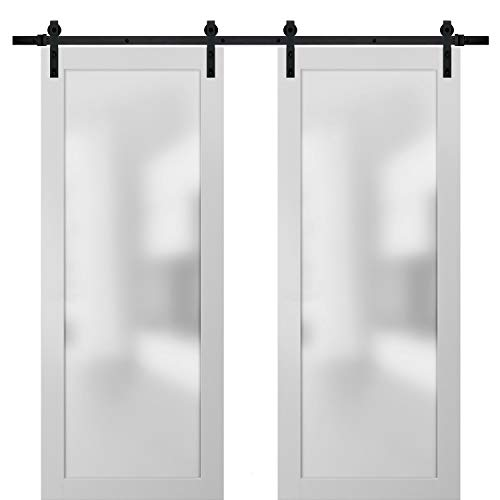 Sliding Lite Double Barn Frosted Glass Doors 72 x 80 | Planum 2102 White Silk | 13FT Rails Hangers Stops Hardware Set | Modern Solid Core Wood Interior Doors