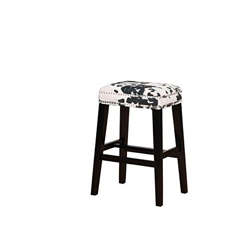 Linon Walt Black Cow Print Bar Stool (Bar Stools Cow)