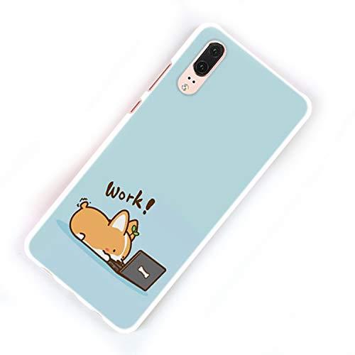 (Cute Shiba Corgi Dog Design Hard White Phone Case for Huawei P20 P20 Lite P Smart P10 P8 P9 Lite 2017 P10Lite)