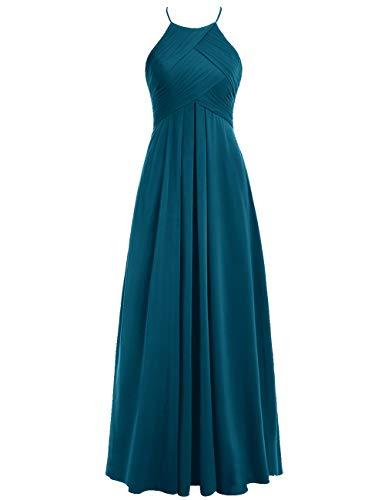 40 Brautjungfernkleider Ballkleider Rückenfrei Neckholder Lang A Hochzeitskleider Abendkleider Tintenblau Linie Chiffon qPrvqgWn
