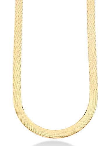 MiaBella 18K Gold Over Sterling Silver Italian Solid 10mm Flat Herringbone Chain Necklace for Men Women 17, 18, 20 Inch 925 Italy (18) ()