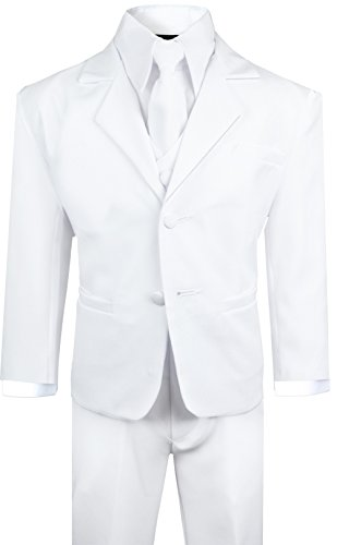 White Toddler Suit (Boys Suit with Tie for toddlers and infants. (2T, White))