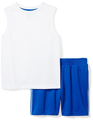 Amazon Brand - Spotted Zebra Boys' Little Kid Active Tank and Shorts Set, White/Blue, Small (6-7)